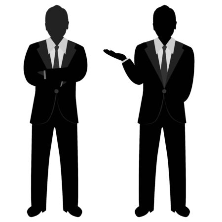 Various of The Silhouette Businessman Poses Isolated on White Background  photo