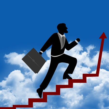 The Businessman Stepping Up a Stairway to The Top of The Arrow for Success With Blue Sky Background Stock Photo - 14605080