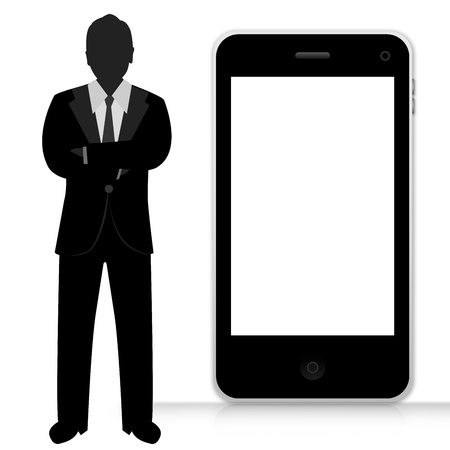 The Businessman Present With Black Mobile Phone With Blank Screen Isolate on White Background  photo