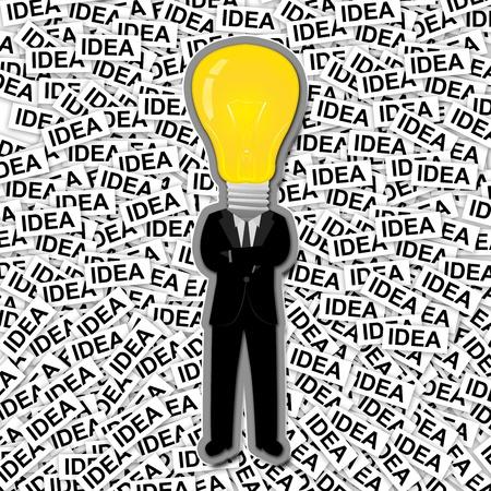 inspiratie: Inspiratie Concept, De Man Met Gele Gloeilamp Hoofd Staan op Veel Idea Label Achtergrond