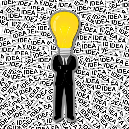 Inspiration Concept, The Man With Yellow Light Bulb Head Stand on Many Idea Label Background  photo