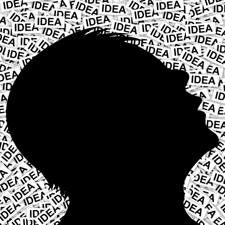 Idea Concept as Many Idea Around You, present by The Man With Many Idea Label Background  Stock Photo