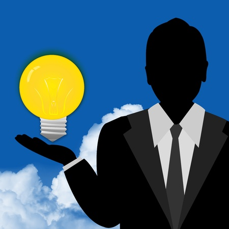 Business Man Showing Light Bulb on Hand With Blue Sky Background  photo