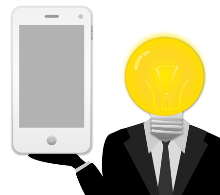 The Bulb Head Businessman Showing White Mobile Phone on Hand With Blank Screen Isolated on White Background  photo