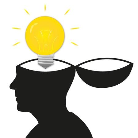 Die Open Minded Modell mit Glühbirne auf weißem Hintergrund Standard-Bild