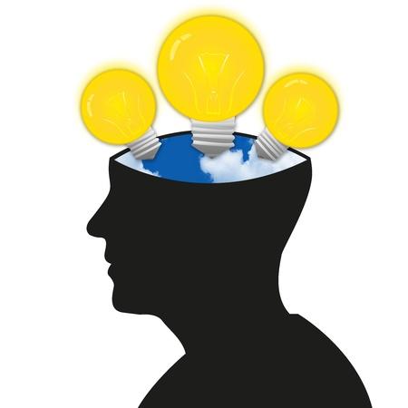 Il modello Open Minded Con 3 Lampadine e cielo blu in testa isolata su sfondo bianco