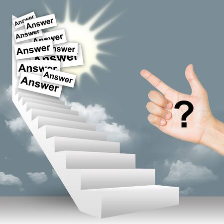 3D Stairway Image With Question Mark in Hand and Answer Label in The Door photo