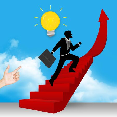 A Businessman Step Up to Top of The Arrow Stairway  photo