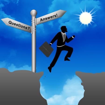 interrogatory: The Businessman Jumping Through The Valley Gap