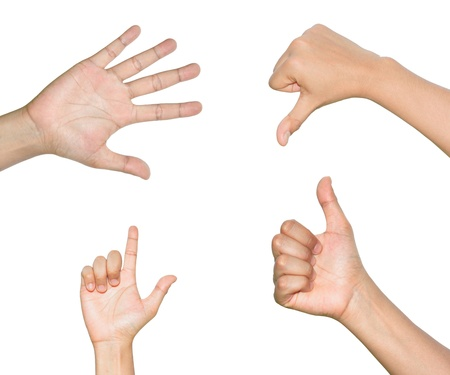 Set of Different Hands Isolated on White Background Stock Photo - 14605053