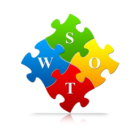 The Colorful SWOT Puzzle For Business Concept Isolated on White Background  photo