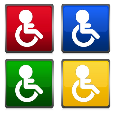 wheel chair: Group of Colorful Wheel Chair Toilet Sign Isolated on White  Stock Photo