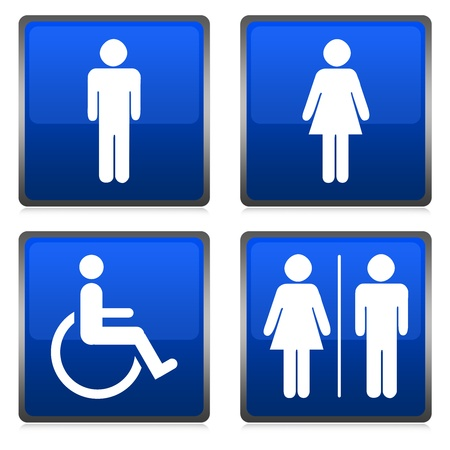 Group of Blue Metallic Toilet Sign Isolated on White  Stock Photo - 14605096