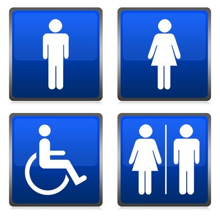 Group of Blue Metallic Toilet Sign Isolated on White Stock Photo - 14605096