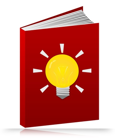 The Red Books With Light Bulb Sign Isolated on White Background  photo