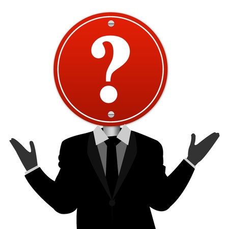 interrogatory: The Businessman Who Have Question Road Sign on Head Isolated on White Background