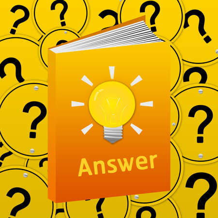 The Books With Light Bulb Sign and Answer Text With Question Mark Road Sign Background  photo