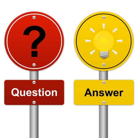 Circle Question and Answer Road Sign in Metallic Style Isolated on White Background  photo