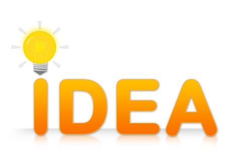 The Idea Text With Light Bulb Sign on I Letter Isolated on White Background Stock Photo - 14669822