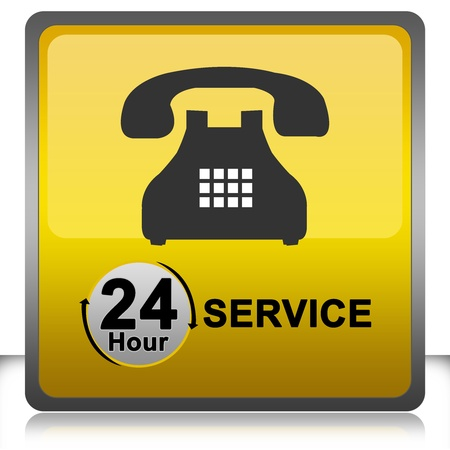 The 24 Hour Service Sign Isolate on White Background Stock Photo - 14669826