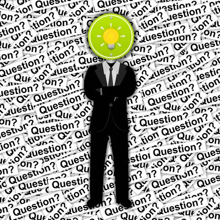Inspiration Concept, The Man With Yellow Light Bulb Road Sign Head Stand on Many Question Label Background  Stock Photo - 14670925