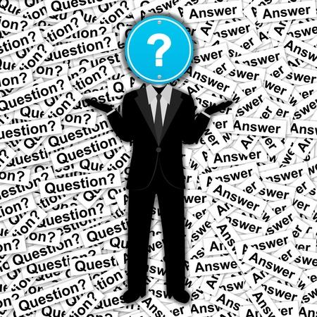 definici�n: El hombre con marca azul Pregunta postura sobre la cabeza la muestra de camino en el fondo Muchos Label Pregunta Foto de archivo