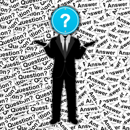 who: The Man With Blue Question Mark Road Sign Head Stand on Many Question Label Background