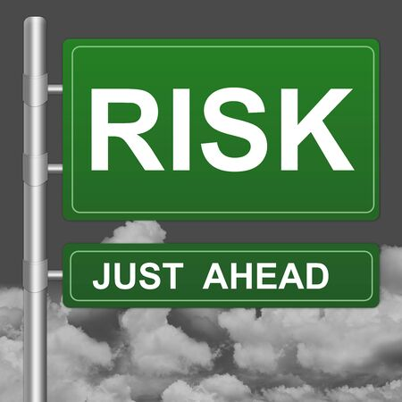 Risk Just Ahead Highway Street Sign Against A Blue Sky Background  photo