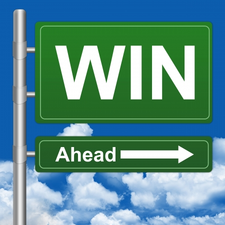 Stock Photo  Win Ahead Highway Street Sign on Blue Sky Background photo