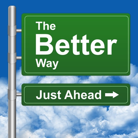 better: Better Way Just Ahead Highway Street Sign With Blue Sky Background  Stock Photo