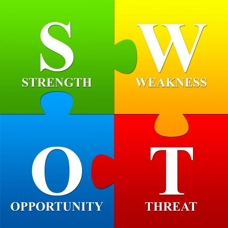 swot analysis:  Stock Photo  Four Pieces Colorful SWOT Puzzle For Business Concept