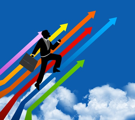 The Businessman Stepping Up a Colorful Arrow to The Top for Success With Blue Sky Background  Stock Photo - 14670959