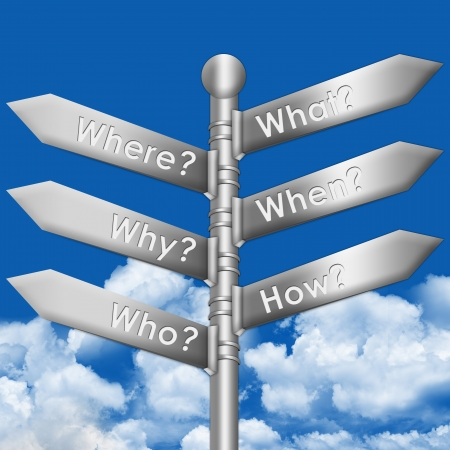 The Metallic Signpost With Many Question in Blue Sky Background  photo