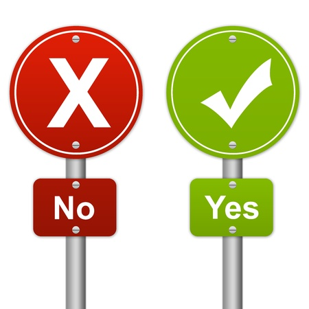 fail: Yes or No Glossy Road Sign Style Isolated on White Background Stock Photo