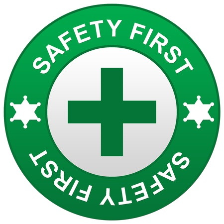 The Green Safety First Sign Isolated on White Background  photo