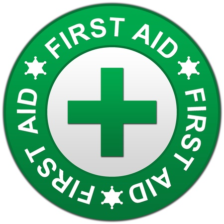 The Circle Green First Aid Sign Isolated on White Background