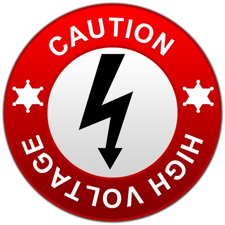 electroshock: Caution High Voltage Warning Sign in Red Glossy Style Button Isolated on White Background  Stock Photo