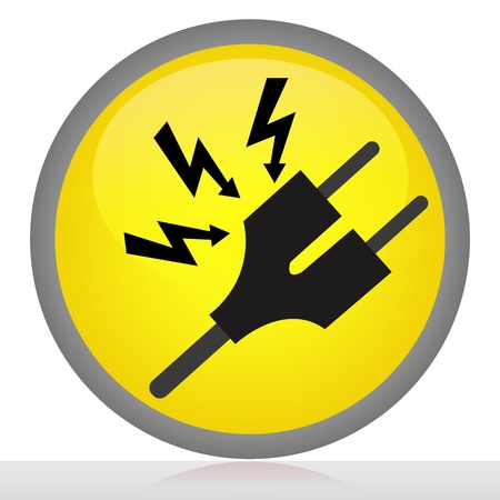 The High Voltage precaution Sign With Yellow Glossy Style Button Isolated on White Background  photo
