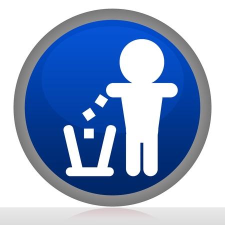 tirar basura: Encierra en un c�rculo No Sign Tirar basura con el bot�n de estilo brillante azul Aislado sobre fondo blanco