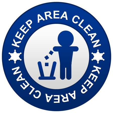 keep clean: Keep Area Circle Sign Isolated on White Background