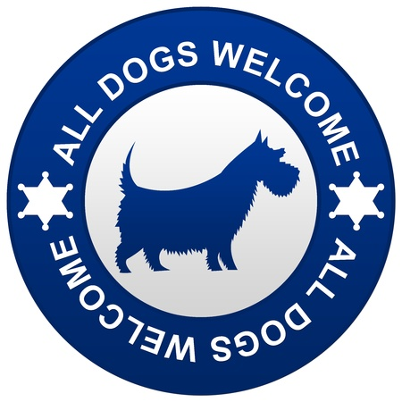 pliable: The Blue All Dog Welcome Sign Isolated on White Background