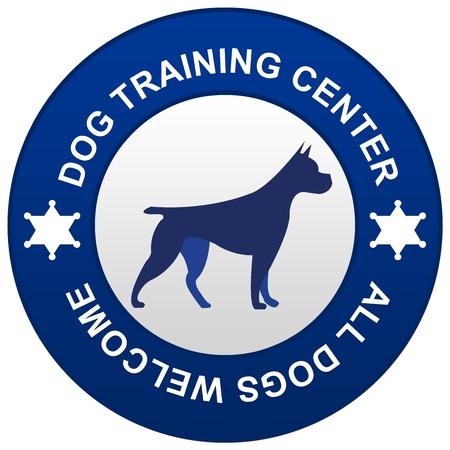 obediência: Blue Circle Dog Training Center isolado no fundo branco Imagens