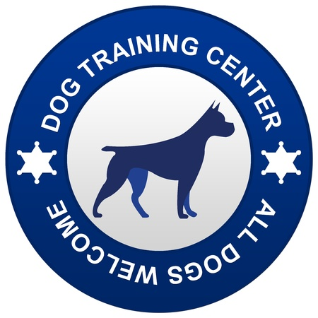 Blue Circle Dog Training Center Isolated on White Background