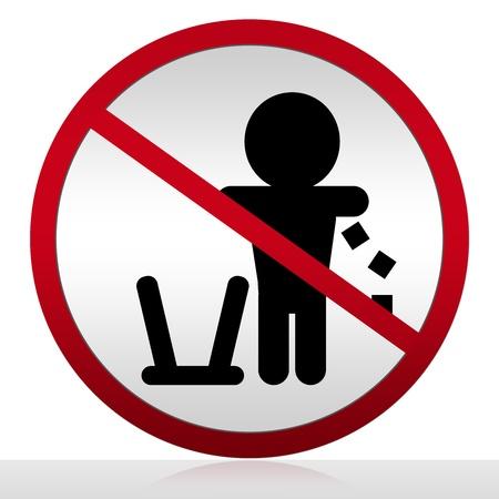 botar basura: No tirar basura sesión Aislado sobre fondo blanco
