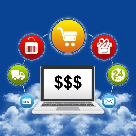Concepto de compras en línea actual de ordenador portátil con algún signo de dólar en la pantalla y el icono encima Aislar sobre fondo blanco