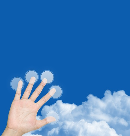 The Finger Pressing on Blank Touch Screen Monitor Button With Blue Sky Background and Some Space for Writing Your Own Text Message Stock Photo - 14686848