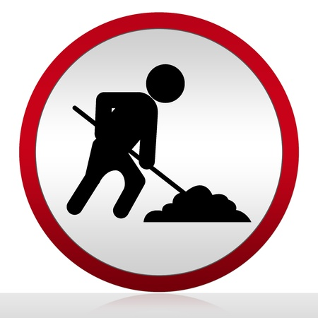 Circle Under Construction Icon With Worker Sign Isolate on White Background  photo