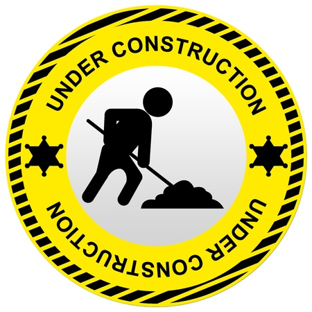 Yellow Circle Under Construction Road Sign With Worker Icon Isolate on White Background  photo