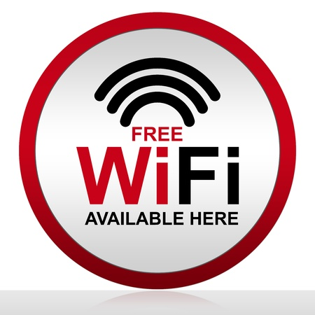 Free WiFi Available Here With Circle Metal Style Icon Isolate on White Background  photo