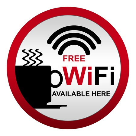 Free WiFi Available Here With Coffee Cup Icon in Circle Metal Style Icon Isolate on White Background  photo